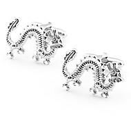 mancuernas de plata chapada animales real (1 par)