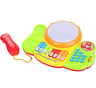 Polychrome Children's Tambourine with Piano Phone Toy (No Batteries)