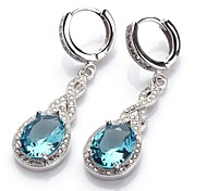 Moda 925 placcato Copper Blue Zircon Orecchini
