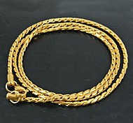 Fashion Classic Unisex Stainless Steel Golden Chain Necklace