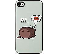 Gato gordo y Patrón Hamburguesa Hard Case aluminoso para el iPhone 4/4S