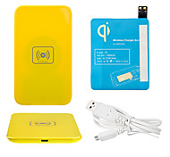 Yellow Wireless Power Charger Pad + USB Cable + Receiver Paster(Blue) for Samsung Galaxy S4 I9500