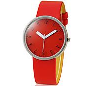 Diseño simple pu banda de cuarzo reloj de pulsera de mujer analógico (colores surtidos)