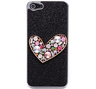 Black Flash Powder With Peach Hearts hard Case for iPhone 5/5S