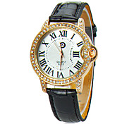 Women's White Dial PU Band Analog Quartz Wrist Watch