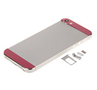 Silver Hard Metal Alloy Back Battery Housing with Buttons and Pink Glass For iPhone 5s