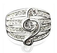 Fashion Simulated Diamond Chamming Musical Note Ring