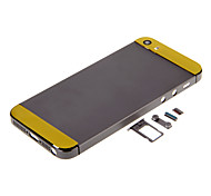 Gray Hard Metal Alloy Back Battery Housing with Buttons and Yellow Glass For iPhone 5s