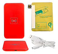 Red Wireless Power Charger Pad + USB Cable + Receiver Paster(Gold) for Samsung Galaxy Note2 N7100