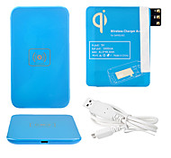 Azul Wireless Power Charger Pad + Cabo USB + Receptor Paster (azul) para Samsung Galaxy Note3 N9000
