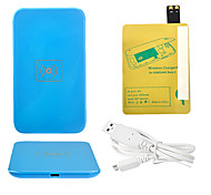 Blue Wireless Power Charger Pad + USB Cable + Receiver Paster(Gold) for Samsung Galaxy S4 I9500