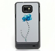 Flower Pattern Hard Case with Rhinestone for Samsung Galaxy S2 I9100