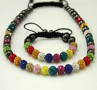 Classic Shamballa Clay Crystal Balls (Necklace and Bracelet) Jewelry Set (Multicolored)