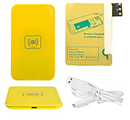 Amarelo Wireless Power Charger Pad + Cabo USB + Receptor Paster (Gold) para Samsung Galaxy Note3 N9000