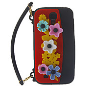 Lovely Flower Hand-Bag Design Soft Silicone Back Case Cover for Samsung Galaxy S4 I9500