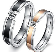 Fashion Lovers Stainless Steel Inlaid Zircon Couple Rings (2 Pcs)