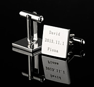Personalized Gift Squared Silver Engraved Cufflinks