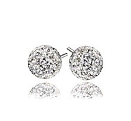 Female FashionClassic Silver Rhodium-Plated Crystal Ball Earrings Ear