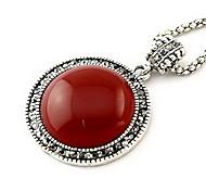 Korean Red Gem Round Pendant Necklace(Random Color)