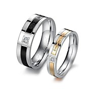 "Vintage Lovers Stainless Steel ""Life Guard"" Couple Rings(Black,Yellow)(2 Pcs)"