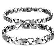 Fashion Couple's Magnet Pierced Heart Stainless Steel  Bracelet (2 Pc)