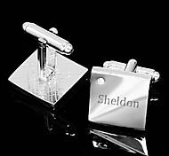 Regalo personalizzato Squared Gemelli in argento inciso con strass