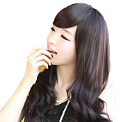 Fashion Long Wavy Nature Black Synthetic Side Bang Wigs