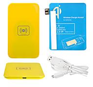 Amarelo Wireless Power Charger Pad + Cabo USB + Receptor Paster (azul) para Samsung Galaxy Nota 2 N7100