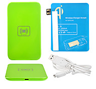 Green Wireless Power Charger Pad + USB Cable + Receiver Paster(Blue) for Samsung Galaxy Note2 N7100