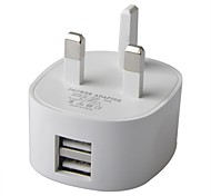 Dual USB Power Charger Adapter for iPhone / iPad / SAM / HTC / LG- White (UK Plug)
