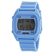 Unisex Multi-Functional Rectangle Dial Rubber Band Digital Wrist Watch (Assorted Colors)