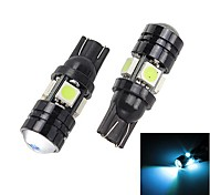 Merdia T10 1.5W 250lm 4 x 5050 SMD LED + 1 Condenser Lens Ice Blue Light Car Tail Light (12V / 2PCS)