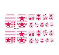 22PCS Colorful Red Star Toenail Art Sticker XJ Sery No.30