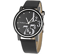 Women's Simple Round Dial Pu Band Quartz Analog Wrist Watch (Assorted Colors)