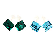 Classic Cube Blue Rhinestone Stud Earrings(Blue,Light Blue) (1 Pair)