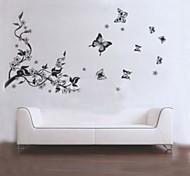 Наклейка на стену с изображением дерева и бабочек, цвет черный