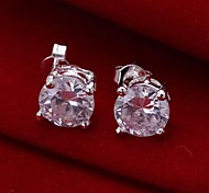 Fashion Silver Plated Zinc Alloy Crystal Stud Earrings(1 Pair)