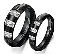 Classic Lovers Stainless Steel Black Couple Rings (2 Pcs)