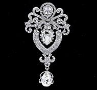 10cm Popular Alloy and Clear Rhinetone Dangle Flower Brooch Pin