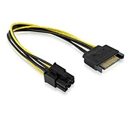 SATA 15 Pin Male M to PCI-e Express Card 6 Pin Female Graphics Video Card Power Cable 15cm