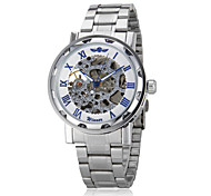 Men's Auto-Mechanical Fashion Hollow Case Silver Skeleton Steel Band Wrist Watch (Assorted Colors)