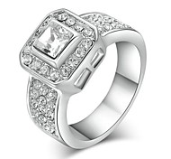 Classic Lady's Clear Simulated Diamond Wedding Ring