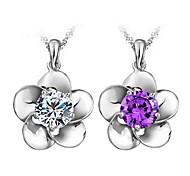 presente para namorada doce (flor com strass) prateado pingente colar (branco, roxo) (1 pc)