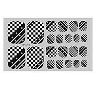 22PCS Black Damier Punk Toenail Art Sticker XJ Sery No.40