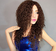 100% Kanekalon Synthetic Fluffy Screw Curly Brown Wig