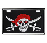 Motorcycle License Plate - Colorized Skulls