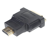 DVI 24 +5 Female To Male HDMI Conversor Adaptador Gold (Preto)