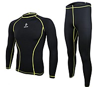 Arsuxeo Men's Compression base layer Suit (Jersey + Tights/Pants) Long Sleeve Breathable Quick Drying