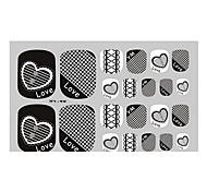 22PCS Black Lace Love Punk Toenail Art Sticker XJ Sery No.46