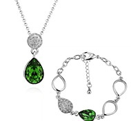 Environmental Alloy Green Crystal White-Plated Jewelry Set